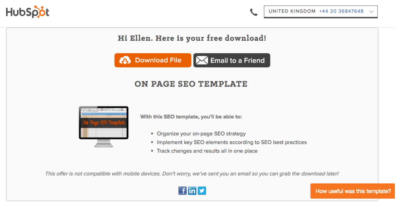 HubSpot Thank You Page with Download