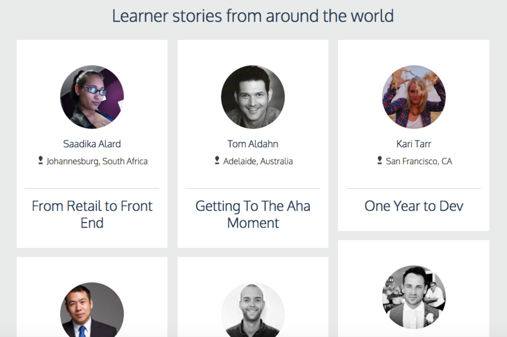 Codeacademy Thank You Page with Testimonials