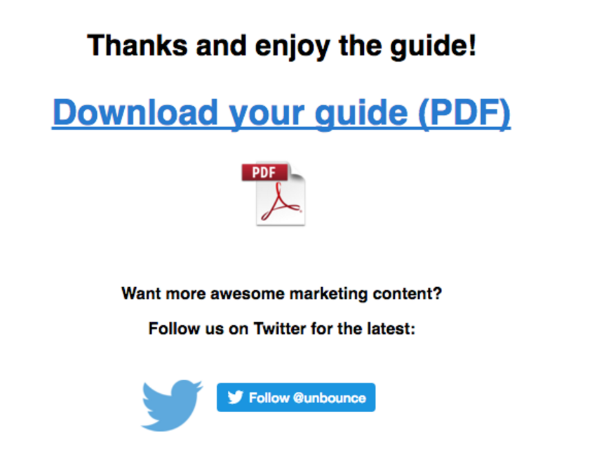 Unbounce Referral Thank You Page